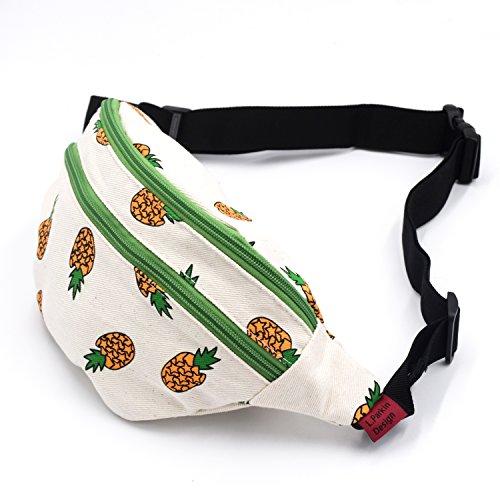 Marsupio ananas marsupio marsupio tela cintura Bum hip sacchetto borse borse di festival, Green Green