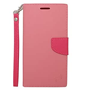 Eagle Cell ZTE Zmax Z970 Flip Wallet PU Leather Protective Case - Retail Packaging - Hot Pink/Pink