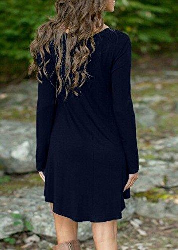 Vestiti Donna Estivi Eleganti Corti Camicia Vestito Manica Lunga Rotondo Collo Abito Mini Puro Colore Linea Ad A A Pieghe Abiti Casuale Maglietta Taglie Forti Vestitini Nero