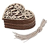 10pcs LOVE Heart Wooden Embellishments Crafts Christmas Tree Hanging Ornament 8 x 8cm