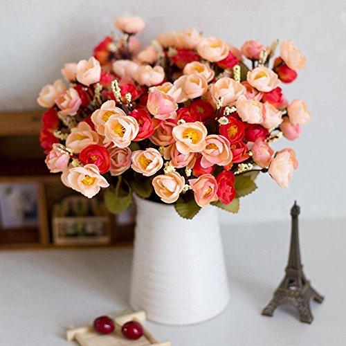 Homeofying Home Künstliche Rosen Seidenblumen 18 Blüten Kamelien Pfingstrose Dekoration für Hochzeit für Baby Jungen oder Mädchen Mixed Orange