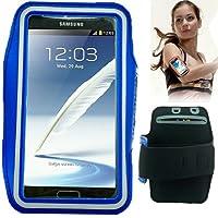 TechExpert Brassard tour de bras bleu pour Samsung Galaxy Note 2/II N7100 idéal pour les sportifs, course à pied ou salle de sport, pochette pour clé et trous pour écouteurs.