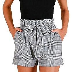 FAMILIZO Pantalones Cortos Mujer Básicos Gimnasio Pantalones Cortos Mujer Verano Deporte Ajustados Cintura Alta Short Yoga Pantalones Calientes High Waist Rayas Cuadros (M, Gris)