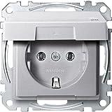 Merten MEG2314-0460 SCHUKO-Steckdose mit Klappdeckel, IP44, BRS, Steckklemmen, aluminium, System M
