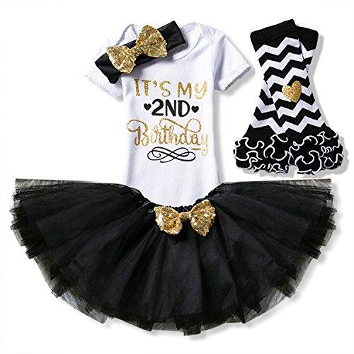NNJXD Mädchen Neugeborene Es ist mein 1. Geburtstag 4 Stück Outfits Strampler + Rock + Stirnband (+ Leggings) Größe (2) Schwarz(2 ()