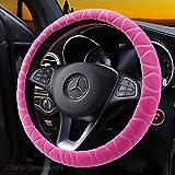 Volant couvrir fausse fourrure hiver chaud volant Wrap s'adapte la plupart voiture 37cm 38cm taille accessoires d'intérieur Rose