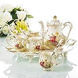 Panbado, 14-teilig Porzellan Kaffeeservice Set, Cremefarbe, mit 950 ml Kaffeekanne, 6 Löffel, 6 Kaffeetassen und Servierplatte, Kaffee Tee Set
