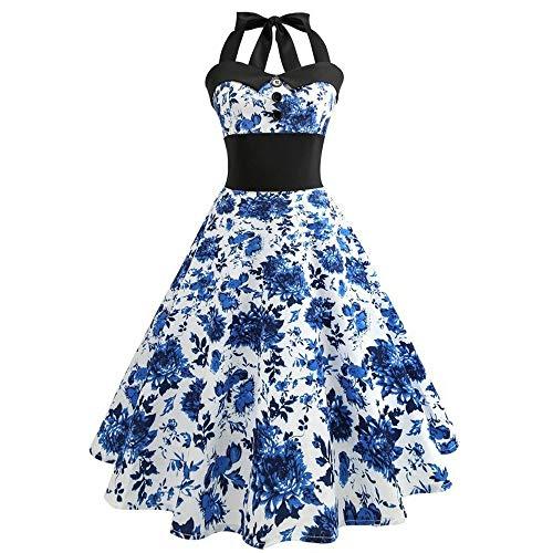 Go First Damen Vintage Elegante Spitze Ärmellos Hallo-Lo Cocktail Prom Party Swing Kleid Stehkragen Schulterfrei Ärmellose Baumwolle Freizeitkleid (Color : Blau, Size : (60 Prom Kleid Kostüm)