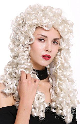 WIG ME UP - B17-2P-B-60 Perücke Damen Herren Barock Renaissance König Edelmann lang Locken gelockt weiß weißblond