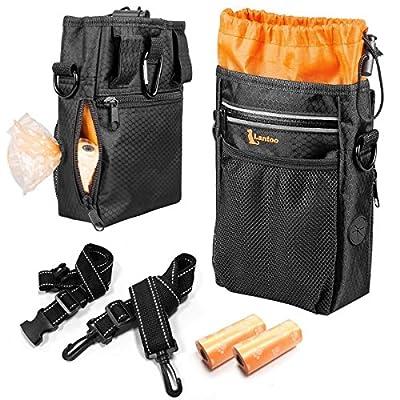 Dog Treat Bag with Poop Bag Holder, Waterproof Dog Training Bag Pouch W/Shoulder Strap, Waist Belt, Clip, Easily Carry Dog Toys, Food - Black