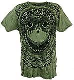 Guru-Shop Sure T-Shirt Eule, Herren, Olive, Baumwolle, Size:L, Bedrucktes Shirt Alternative Bekleidung