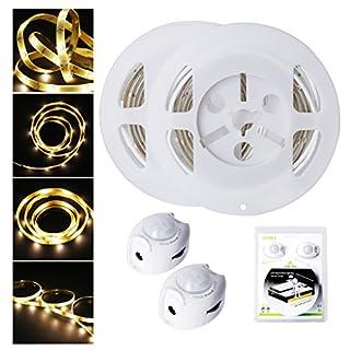 Bewegung aktiviert Bett Licht, ALED LIGHT Flexible LED Streifenlicht, Ein/Aus Bewegungsmelder Nachttischlampe, Bewegung aktivierte LED-Lichtleiste (1.2M *2 Warmweiß)