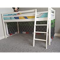 Wood cabin bunk bed mid sleeper with under bed tent for kids children boys and girls bed,children furniture (with football tent)
