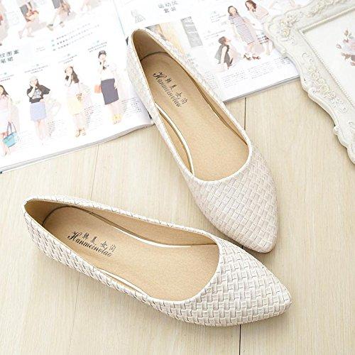 &qq Chaussures plates pointues, plates avec des chaussures de bateau, chaussures de grande taille de mode 43