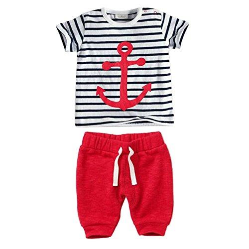 ESHOO Kleinkind Kinder Baby Boys Streifen T-Shirt Tops + Shorts Hosen Outfit Set (Grid-streifen)