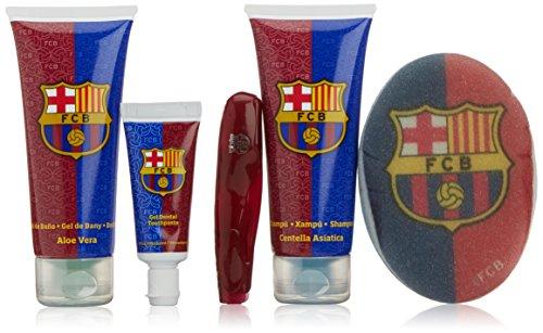 Barça 49587 – Gel de baño con aloe vera 100 ml + champú con centella asiática 100 ml + pasta de dientes + cepillo + esponja baño