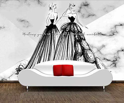 SKTYEE Großformatiges 3D-Wandbild Marmorrelief Schwarz-Weiß-Hochzeitskleid Personalisiertes...
