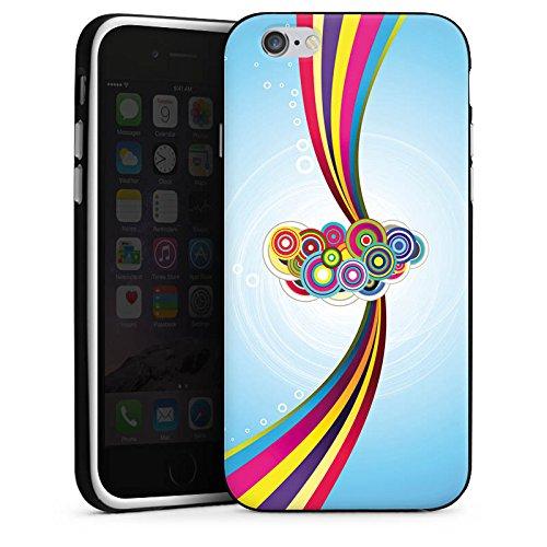 Apple iPhone X Silikon Hülle Case Schutzhülle Schnörkel Regenbogen Muster Silikon Case schwarz / weiß