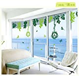 Wandaufkleber nach Hause grüne Pflanze Rattan Vogel Wandaufkleber, Wohnzimmer Schlafzimmer dekorative Wandaufkleber 260 × 125 cm