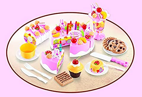 Kids DIY Desserts Plastic Food Toy Set | Fruit Cake | Ice Cream | Cookie | Cupcakes | Cutlery | Cups | Plates | Learning & Celebration