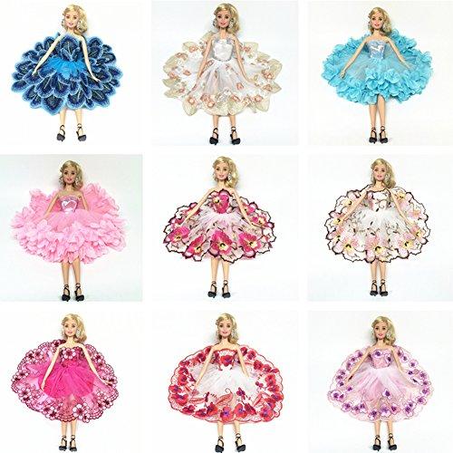 Zantec Puppe Modische Kleid Set Ballerina Rock mit Blumenstickerei für Barbie Puppe Spielzeug Stil (Familie Kostüme Jahre 80er)