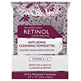 Retinol Anti-Aging Cleansing Towelettes – All-in-One Cleanser, Toner & Makeup Remover in a Convenient Pre-Moistened Wipe – On-The-Go Exfoliating, Toning & Hydrating Leaves Skin Clean, Fresh & Refined