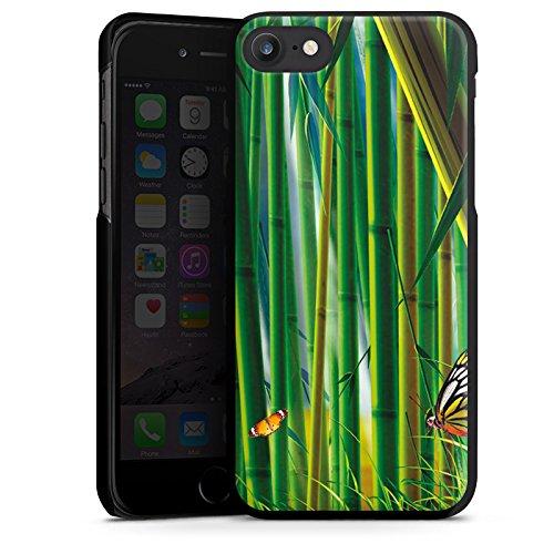 Apple iPhone X Silikon Hülle Case Schutzhülle Bambus Schmetterlinge Natur Hard Case schwarz