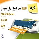 100 Stück DIN A4 Laminierfolientaschen 303 x 216mm, 2x 125 mic, Hochglanz Printation Premium Laminierfolien