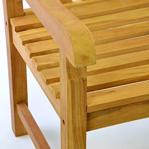 DIVERO 3-Sitzer Bank Holzbank Gartenbank Sitzbank 150 cm – zertifiziertes Teak-Holz behandelt hochwertig massiv – reine Handarbeit – wetterfest (Teak behandelt) - 2