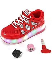 Charmstep Niño Niña Zapatillas con Ruedas, LED Luz Parpadea Deportes Skateboard Sneaker Automáticamente Retráctiles Zapatos