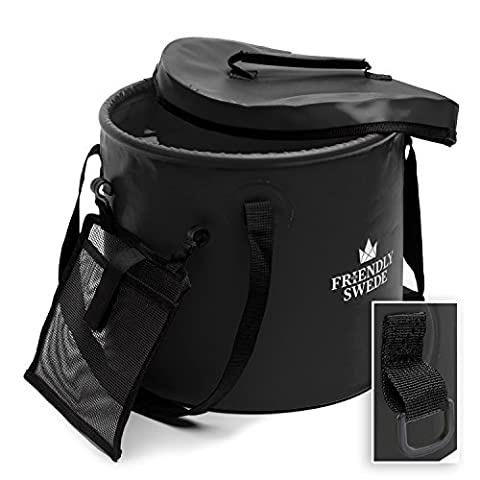 Collapsible Bucket for Camping, Travel and Gardening - With Lid and Mesh Tool Pocket, by The Friendly Swede (Black, 16L)