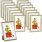 WOLTU Cadre Photo Or Lot de 15 pièces avec Passe-Partout pour Image 10x15cm,New Life Style BR9857gd-15-a