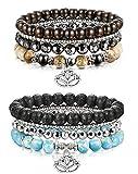 sailimue 8 Pieces Pierre Bracelets pour Hommes Femmes Aromathérapie Diffuseur Bracelet Turquoise Lave avec Lotus, Élastique