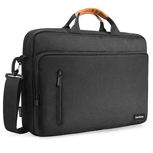 tomtoc Laptop Schultertasche für 13 Zoll MacBook Pro/Air, 13,5 Zoll Surface Book/Surface Laptop, Umhängetasche mit Gepäckgürtel kompatibel mit Dell XPS Lenovo ThinkPad Acer HP Notebook Schwarz