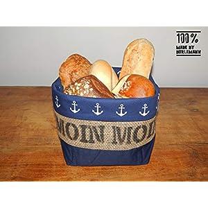 Brötchenkörbchen/Brotkorb Moin Moin aus Kaffeesack für 9-10 Brötchen