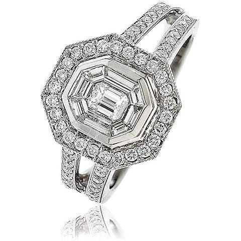 0,80g/VS2certificato ct Smeraldo e taglio baguette Centro con forma esagonale con Split Anello con diamante Halo Diamanti sulle spalle in Oro Bianco 18K - Smeraldo Baguette Anello