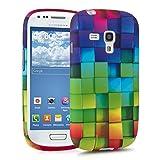 kwmobile FUNDA de TPU silicona para Samsung Galaxy S3 Mini Diseño arco iris dado multicolor verde azul - Estilosa funda de diseño de TPU blando de alta calidad