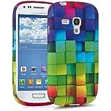 kwmobile Hülle für Samsung Galaxy S3 Mini i8190 - TPU Silikon Backcover Case Handy Schutzhülle - Cover Regenbogen Würfel Design Mehrfarbig Grün Blau