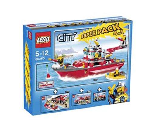 Preisvergleich Produktbild Lego CITY 66360 Feuerwehr Super Pack 4 in 1, Das Set enthält: Lego 7207 Feuerwehrboot + Lego 7213 Feuerwehr-Truck mit Löschboot + Lego 7942 Feuerwehr Pick-up + Lego 7241 Feuerwehrauto
