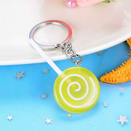 XINXI Home Schlüsselanhänger Dekoration Lollipop Candy Anhänger Harz Schlüsselanhänger Geldbörse Handtasche Auto Charme Schlüsselanhänger Geschenk (Gelb)