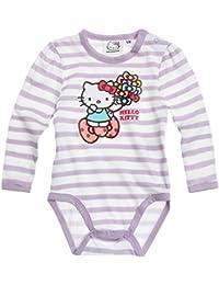 Body bébé fille manches longues Hello kitty Rayé blanc/violet de 3 à 24mois
