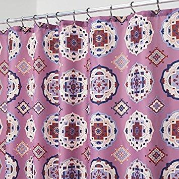 mDesign Duschvorhang aus pflegeleichtem Stoff, mit verstärkten Knopflöchern, für Badezimmer, Duschen, Stände und Badewannen, maschinenwaschbar, dekorative Vintage-Drucke, 183 x 183 cm Lavender Multi (Badezimmer-duschen-stände)
