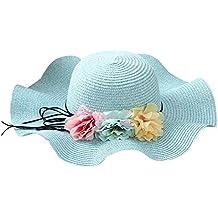 FEOYA Sombrero de Paja Plegable Pamelas de Ocio Elegante con Flores de  Colores para Playa Viaje f5e3588b65a