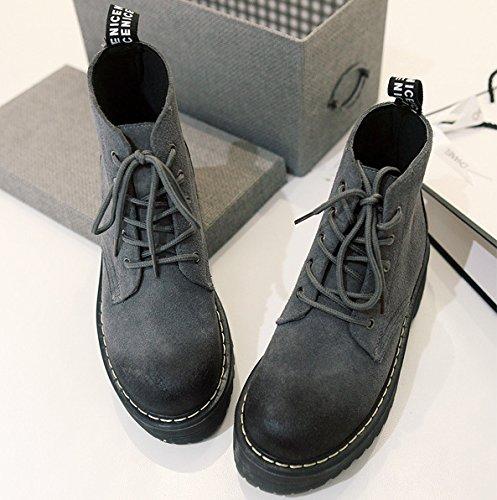 &ZHOU Bottes d'automne et d'hiver Bottes courtes pour femmes adultes Martin bottes bottes Chevalier A5-1 gray