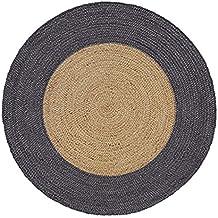 Hecho a mano trenzado redondo yute Natural alfombra (120cm de diámetro, borde gris)...
