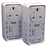 Aztech Solwise 1200AV SmartLink PowerLine HomePlug AV2 Ethernet Adapters with Filtered Mains Passthrough and 2 x Gigabit Ports - Twinpack