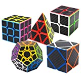Puzzle Cubes Megaminx + Pyraminx + 2x2x2 + 3x3x3 + Skewb 5 Pack in Giftbox Coolzon Cubo Magico con Pegatina de Fibra de Carbono Velocidad
