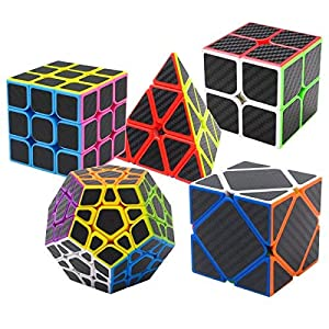 Puzzle Cubes 5 Pezzi Megaminx + Pyraminx + 2x2x2 + 3x3x3 + Skewb in Giftbox Coolzon® Magico Cubo con Adesivo in Fibra di Carbonio Nuovo Velocità
