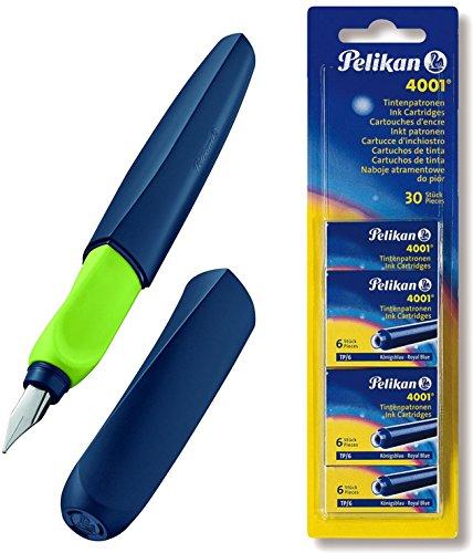 Pelikan Füller Twist in Faltschachtel, universell für Rechts- und Linkshänder, Feder M [ Apple-Blau ] + 30 Patronen Set