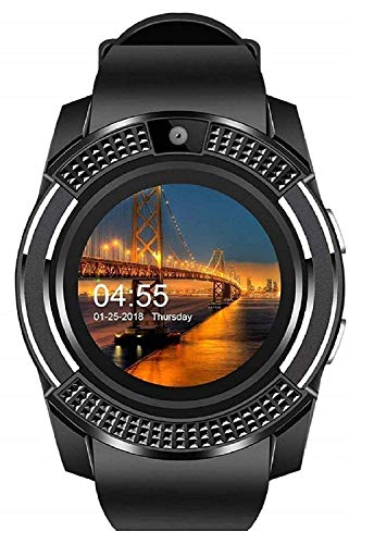 TIRUMI V8 Sports Bluetooth Smart Watch with Camera and Sim Card Supported for All 3g & 4g Android/iOS Smartphones Health Fitness Tracker and More (Black)